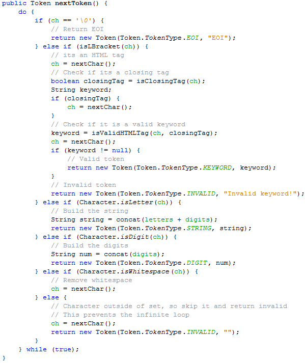 Building a Simple HTML Lexer and Parser in Java